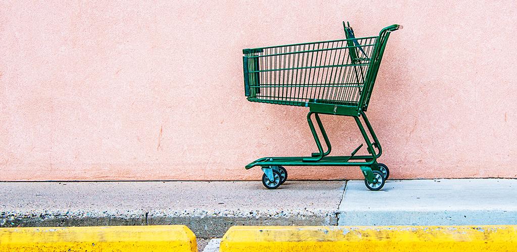 An abandoned shopping cart to illustrate why customers abandon shopping carts.