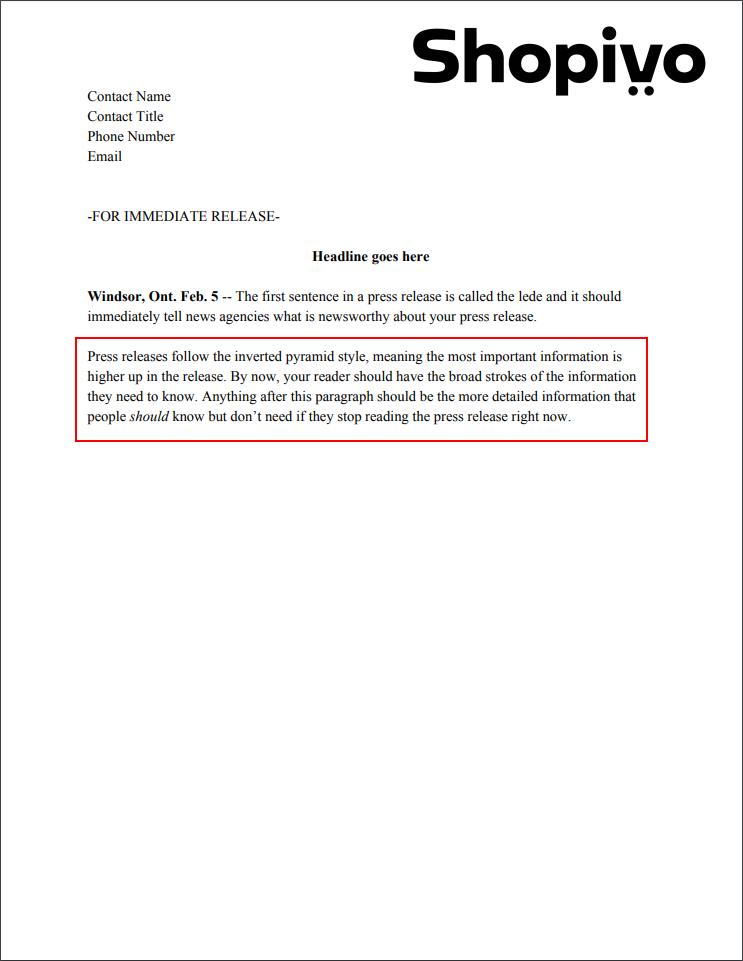 Press release formatting: write body text