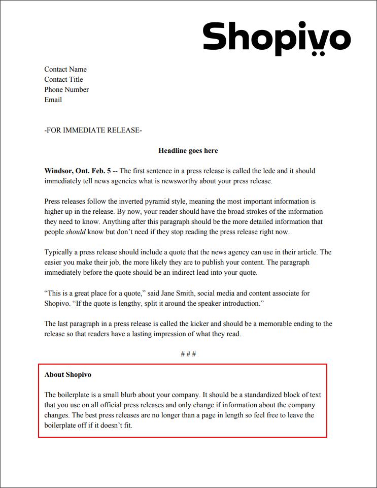 Press release formatting: boilerplate