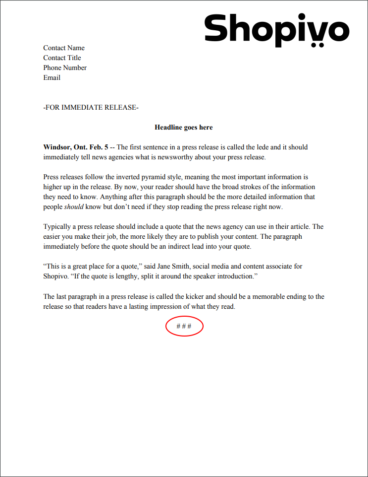 Press release formatting: end sign