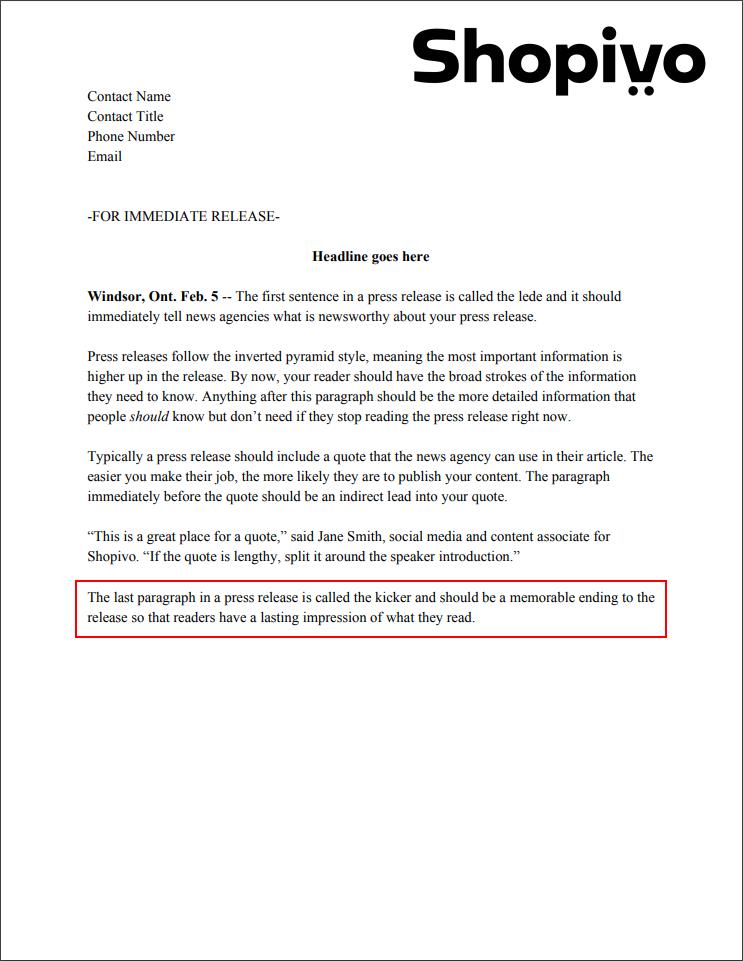 Press release formatting: kicker