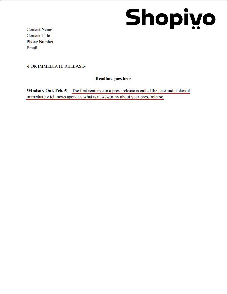 Press release formatting: lede