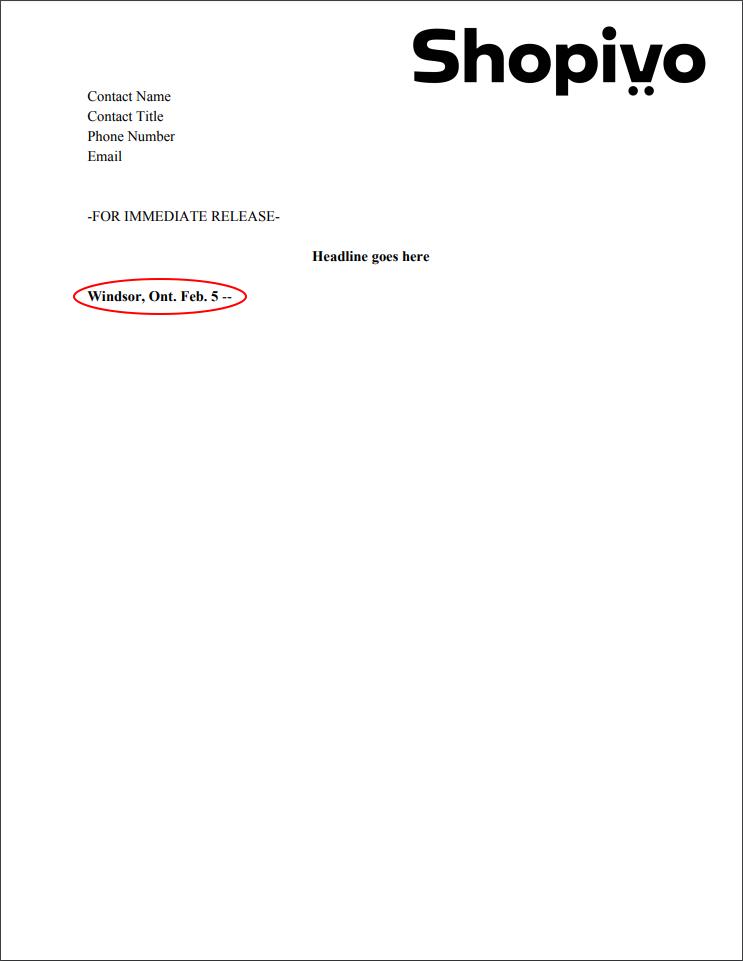 Press release formatting: place line