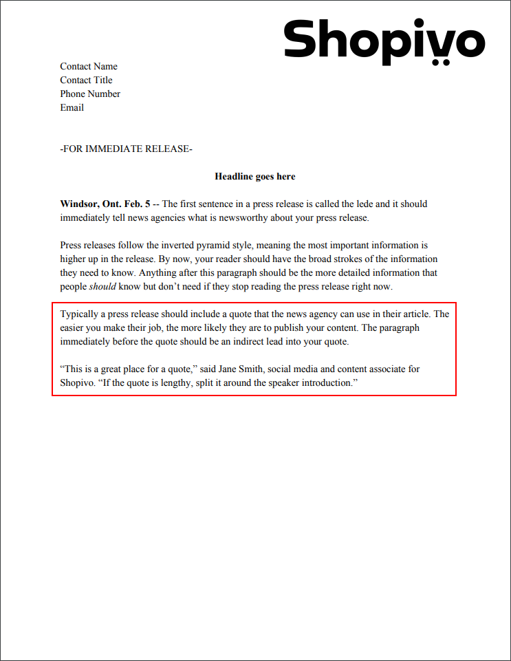 Press release formatting: quote