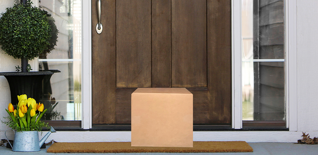 Shipping box delivered to front porch