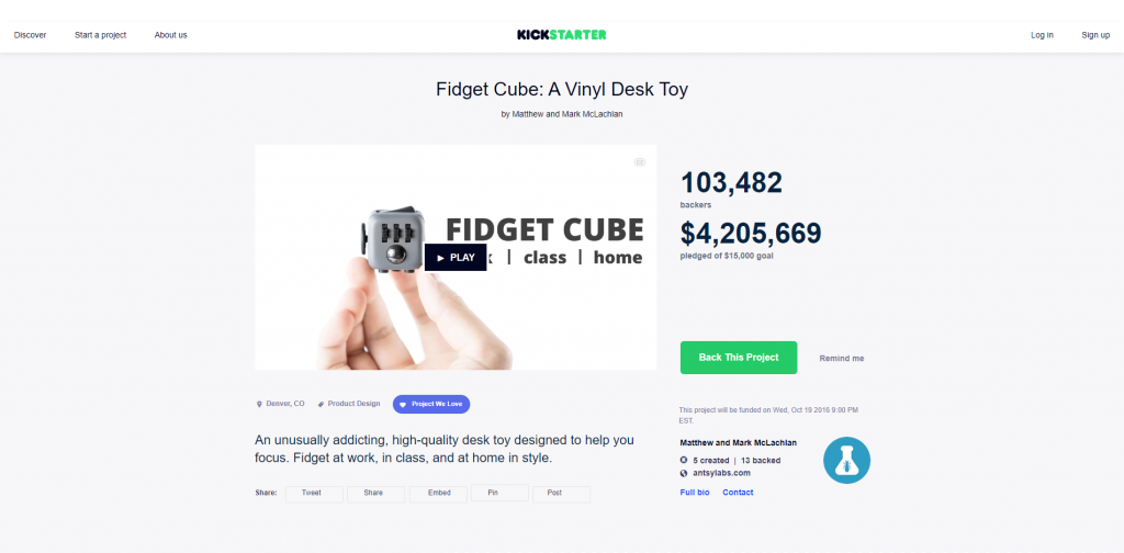 Fidget Cub Kickstarter Product Launch