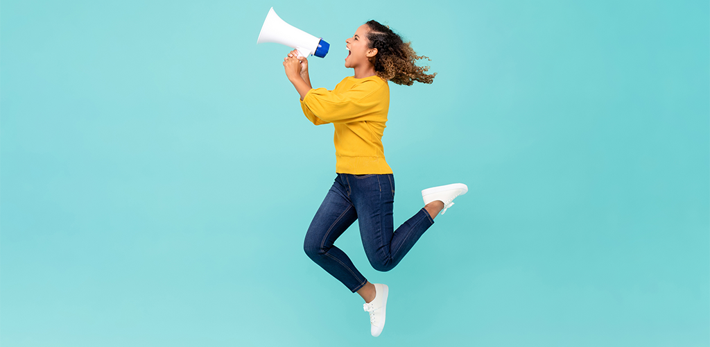 Girl marketing with bullhorn