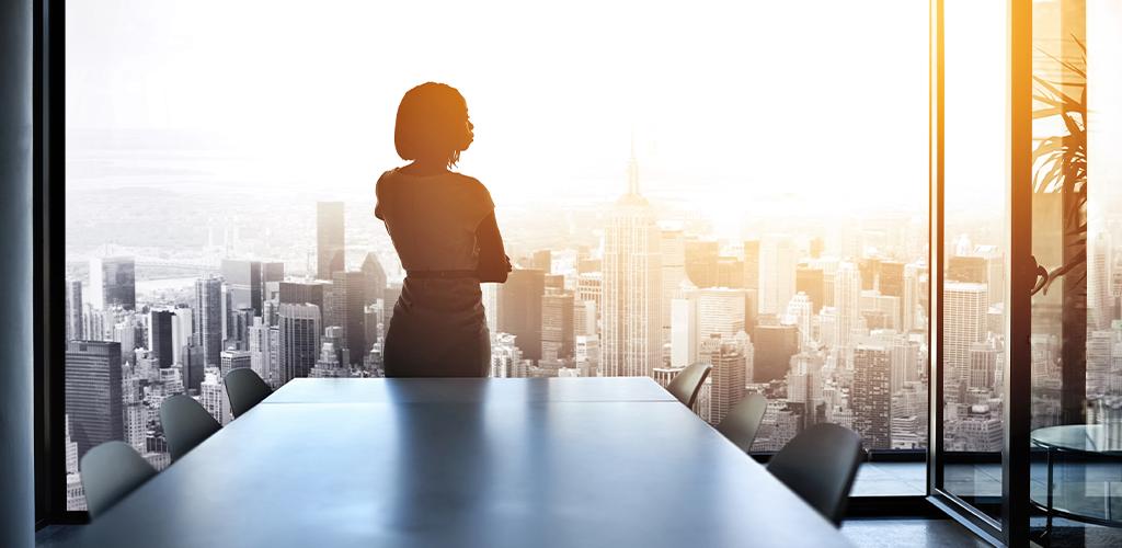 Leader businesswoman in office