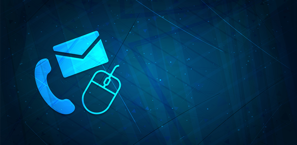 Phone, email, and chat contact icons