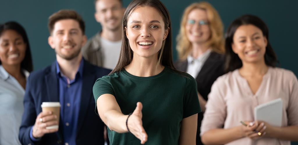 Business introduction handshake