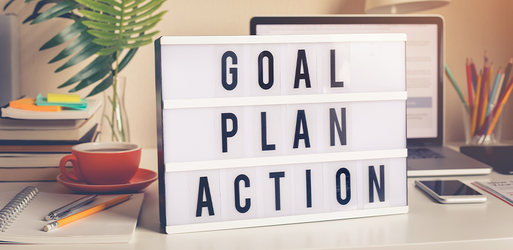 "Motivational sign with the phrase ""goal, plan, action"""