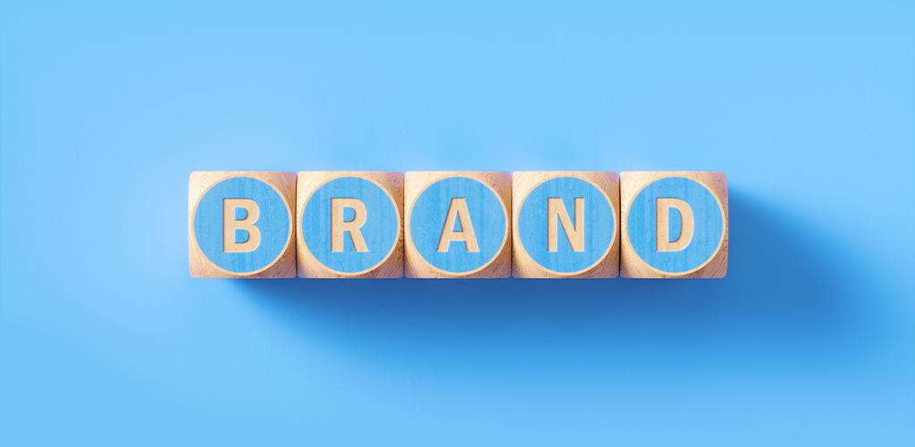 "Wooden blocks spelling ""brand"""