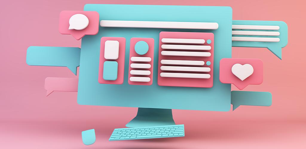 Pink and blue website design illustration